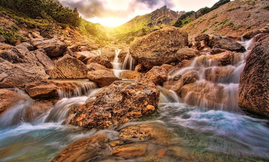 Waters, Nature, River, Waterfall, Rock, Sunset, Water