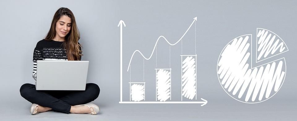 Analytics, Charts, Business, Woman, Laptop, Computer
