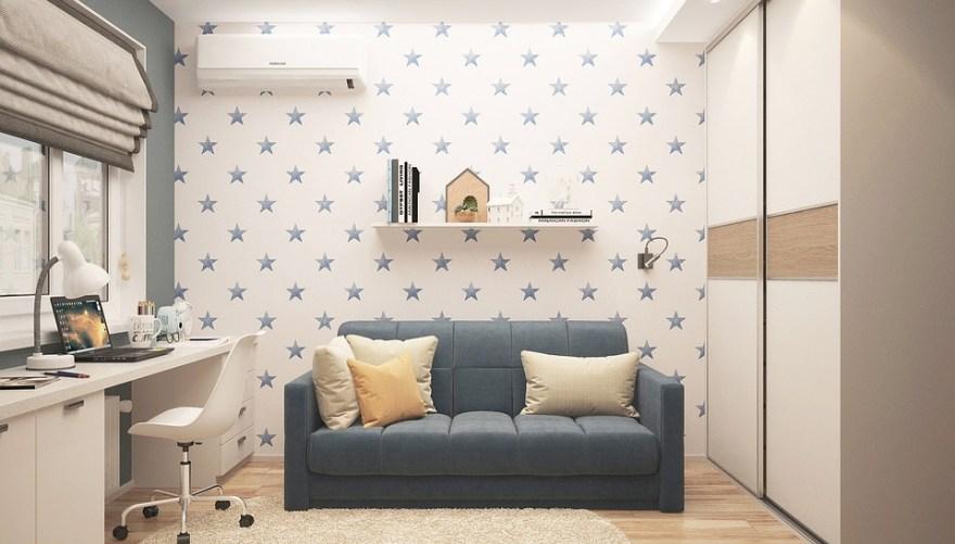 赤ちゃんボーイ, インテリア, 部屋, 以内, ランプ, 家具, アパート, デザイン, 現代, ミニマリズム