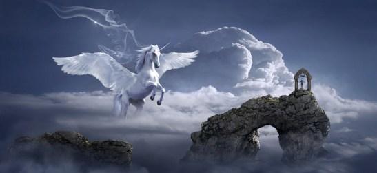馬, ペガサス, アーチ道, ファンタジー, 神秘的な, おとぎ話, 神話上の生き物, 夢, 翼, シュール