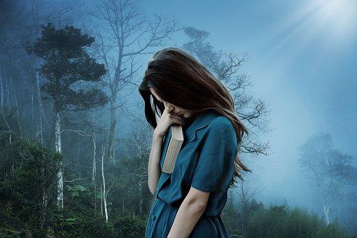 女の子, 悲しみ, 孤独, 悲しい, うつ病, だけで, 不幸です, 苦しみ