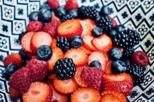 Frutta, Frutta Fresca, Fragole, Mirtilli, Lamponi