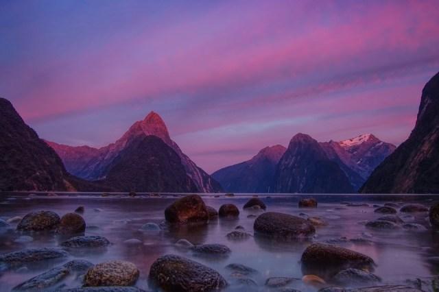 Landscape, Nature, Milford Sounds, Rocks, Sunset