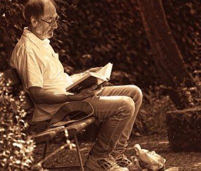 A man reading a book