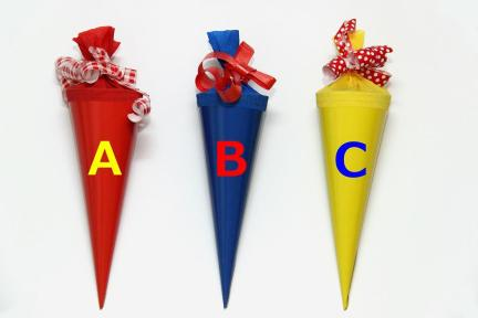 Schule, Schultüte, Gelb, Blau, Rot, Einschulung