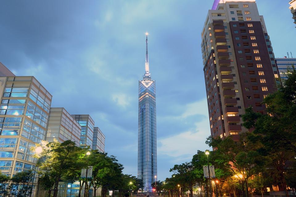 福岡, 福岡タワー, サンセット, タワー, アンテナ, 日本, ラジオ