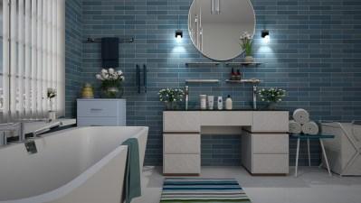 バスルーム, 青, タイル, デザイン, 白, 衛生, お風呂, 洗い, インテリア、, タオル