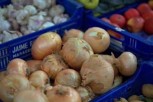 農民 ローカル市場, タマネギ, 野菜, 新鮮, 調理する, 健康, 食品