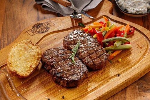 食物, ステーキ, お肉, スープ, 牛肉, バーベキュー, 食べる, メニュー