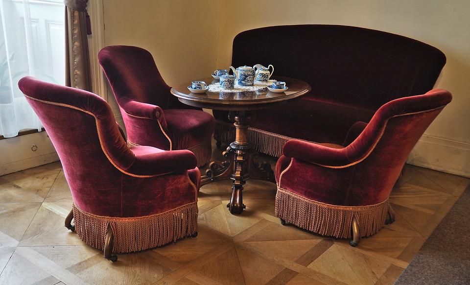 canape fauteuil velours style photo