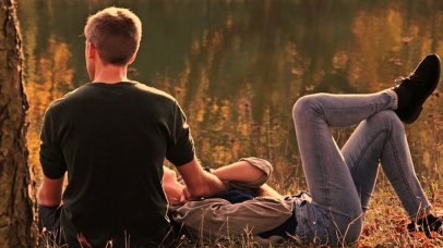 Pair, Autumn, Evening Sun, Nature, Human