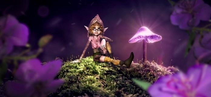 Fantázia, Gomba, Elf, Virágok, Moha, Izzás, Fény