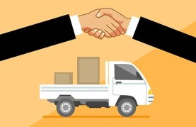 Delivery, Truck, Handshake, Concept