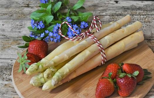 Asparagi, Fragole, Primavera, Mercato, Alimentari