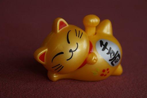 幸運の猫, 幸運のお守り, 日本, 招き猫, 精神的です, アジア人, 猫