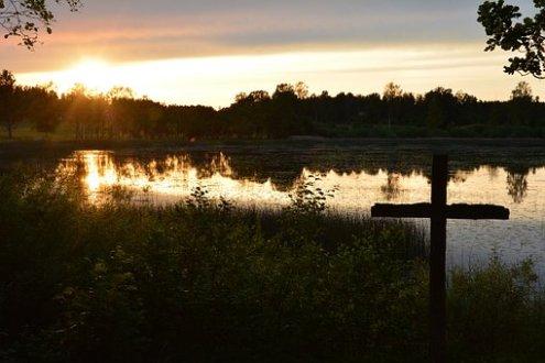 Cross, Sunset, Lake, Evening, Jesus