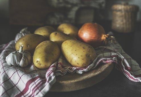 ジャガイモ, タマネギ, ニンニク, 食品, 野菜, キッチン, 成分, 素朴な