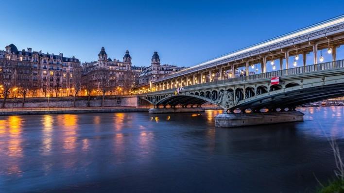 Paris, Ponte, França, Rio, Sena, Metro, Luzes, Água