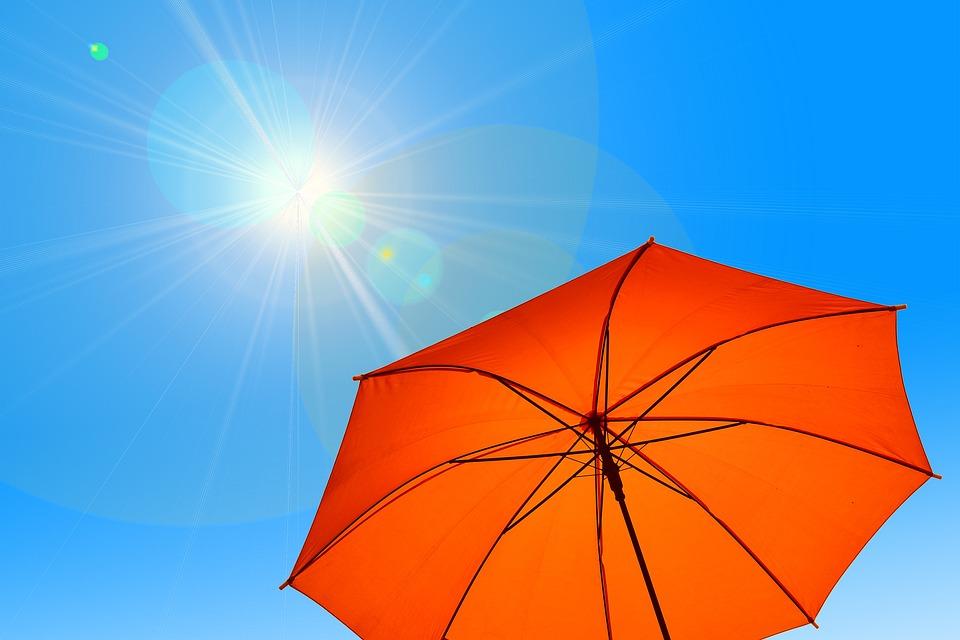 パラソル, 傘, 太陽, 空, 青, ホット, 熱, 気候変動, 気候, 夏, 保護, 紫外線放射, 放射線