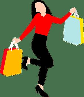 女性, ショッピング バッグ, ポーズ, バッグ, 小売, 販売, 徒歩, 購入