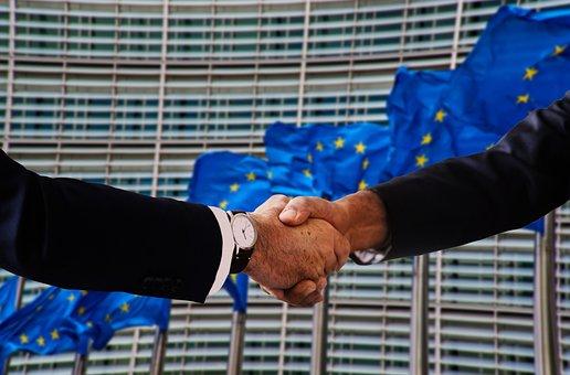 Handshake, Shaking Hands, Europe, Flag