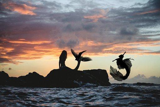 Mermaid, Sunset, Sea, Magic, Fantasy