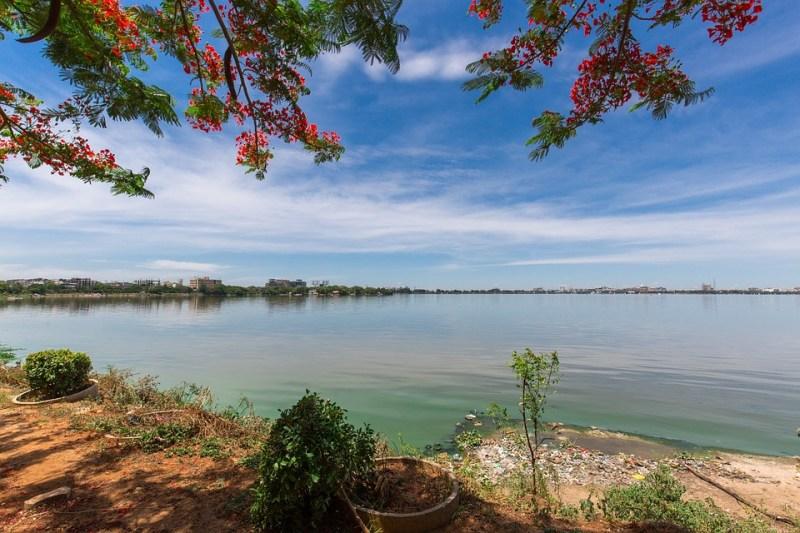 Hyderabad Tank Bund, Lake, Blue Sky, Water, Landscape