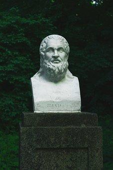 Statua, Busto, Albero, Park, Natura