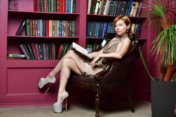 Library, Girl, Dress, Reading, Slit On The Dress, Books