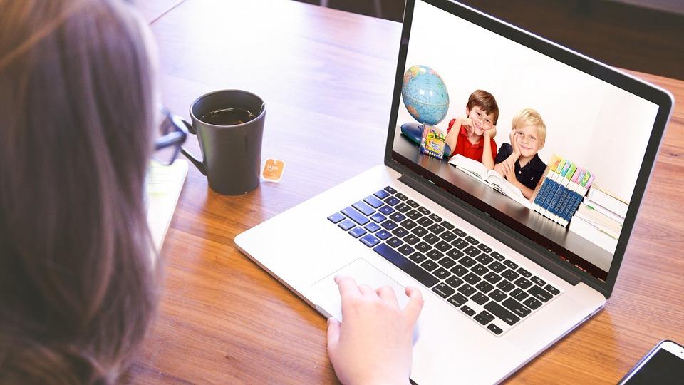 Crianças, Computador, Laptop, Estudantes