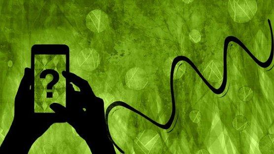 電話, スマートフォン, 携帯電話, シルエット, 電話画面, 疑問符