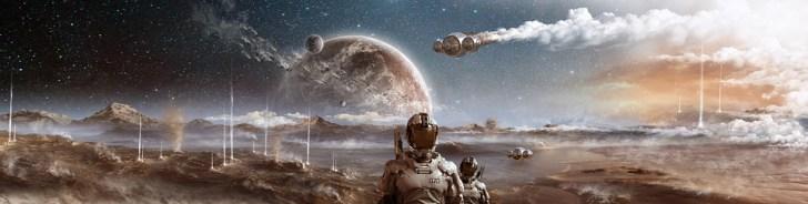 スペース, 別世界, 惑星, フライト, 宇宙飛行士, コラ, Photomontage, 隕石