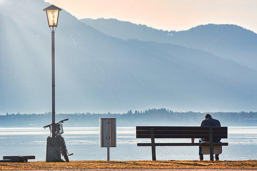 Person, Bench, Lake, Bank, Mountains