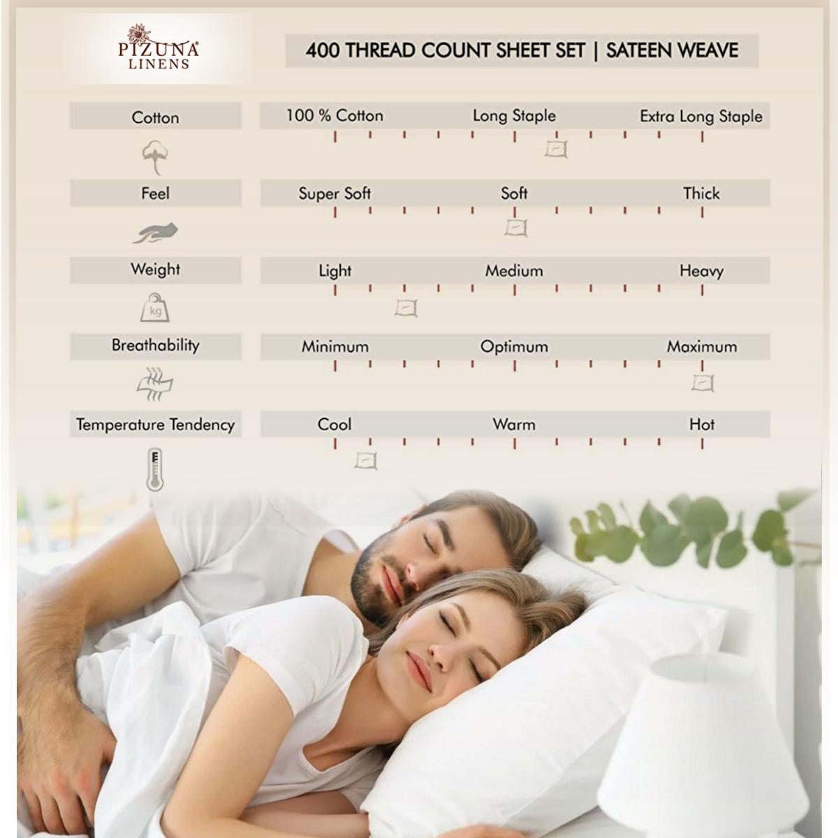 pizuna linens 400 thread count cotton pillow cases