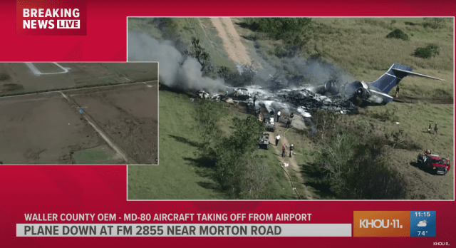 """Screen Shot 2021 10 19 at 11.13.53 AM 640x348 - """"Miraculous."""" No Fatalities As Chartered MD-87 Crashes Near Houston."""