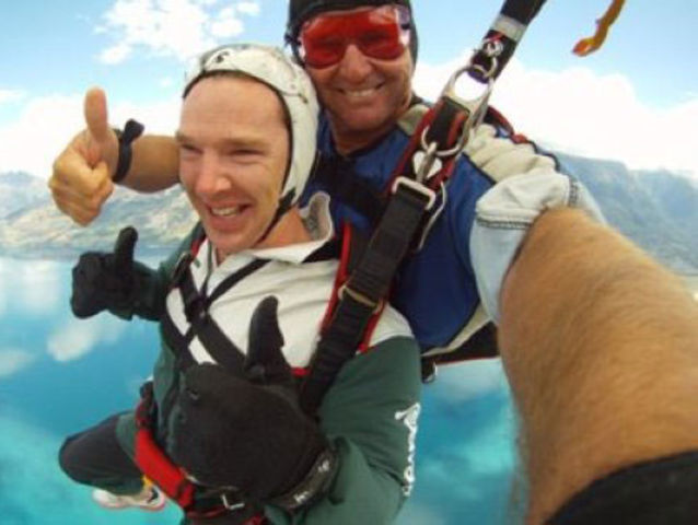 When he skydived and looked THIS happy