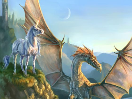Image result for unicorn and dragon
