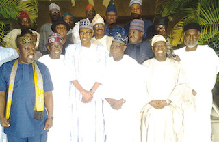 Obasanjo, 3rd right with APC leaders