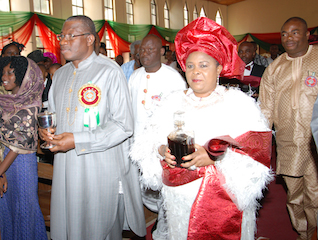 President Jonathan and Patience Mama Peace at the service