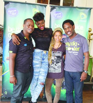 •L-R: Dayo Adeyelure; Winner, Nigerian Idol season 1, Yeka Onka; Nigerian Idol Season 4 Judge, Nneka; and Director, Brands and Communications, Etisalat Nigeria, Enitan Denloye at the Calabar auditions of Nigerian Idol Season 4