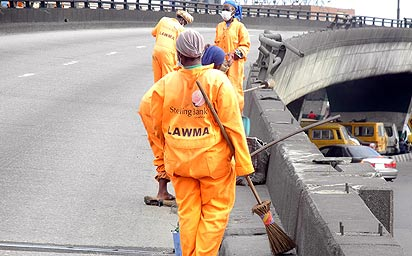 Lagos road sweepers at work