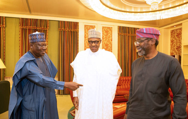File: Buhari and leaders of National Assembly, Senate President Ahmad Lawan and Speaker Femi Gabjabiamila