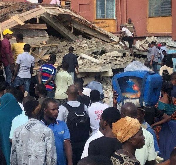 Illustration of the collapsed building in Ikorodu