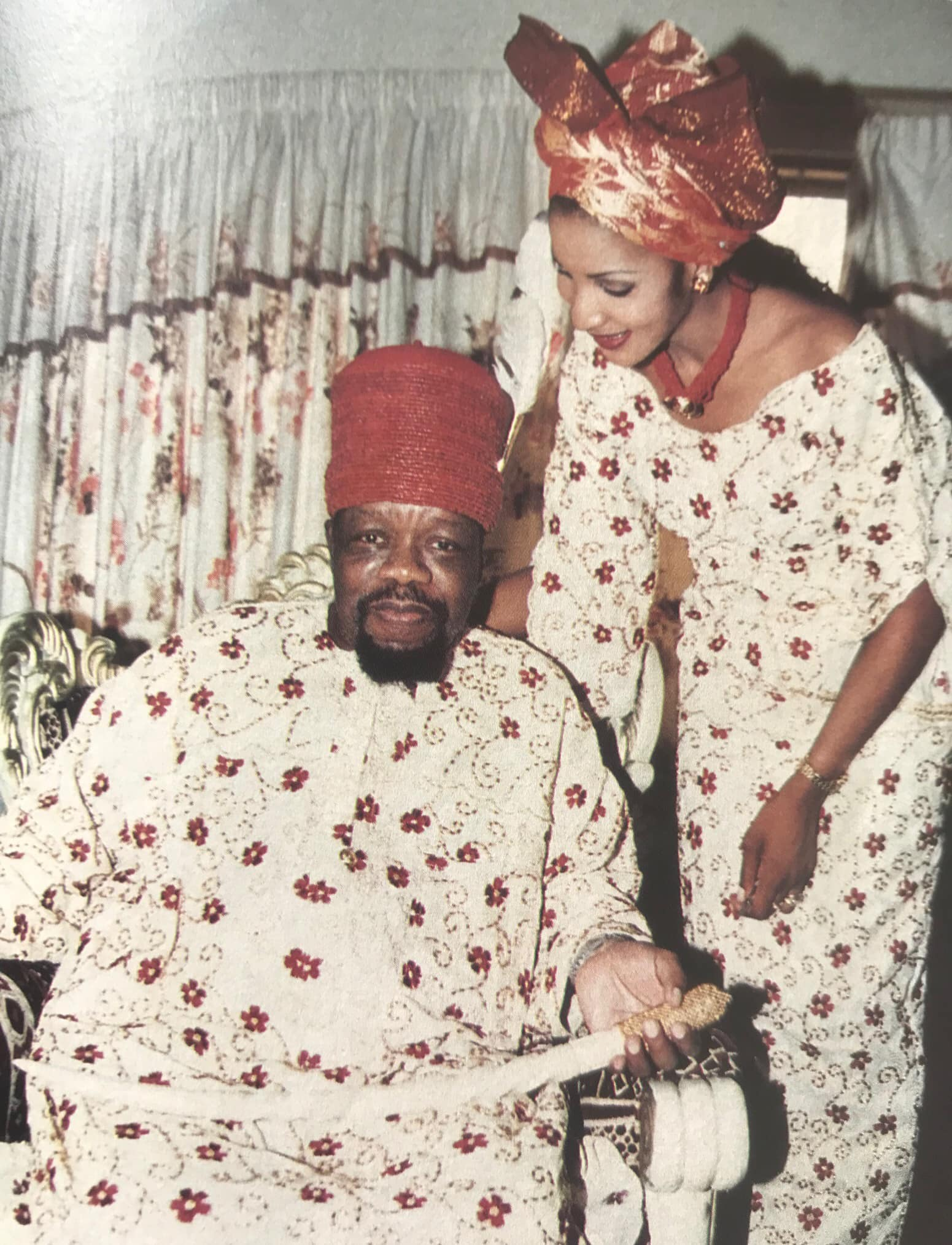 Bianca and late Igbo leader, Dim Odumegwu Ojukwu during their marriage in 2001. Bianca reveals why her father asked Ojukwu to pay 'impossible bride price' of 100 pre -independence copper coins on her