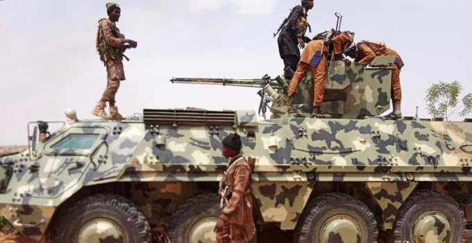 Boko Haram with a Nigerian Army tank stolen on Sunday