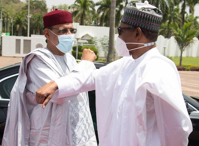 Bazoum in elbow shake with Buhari on arrival