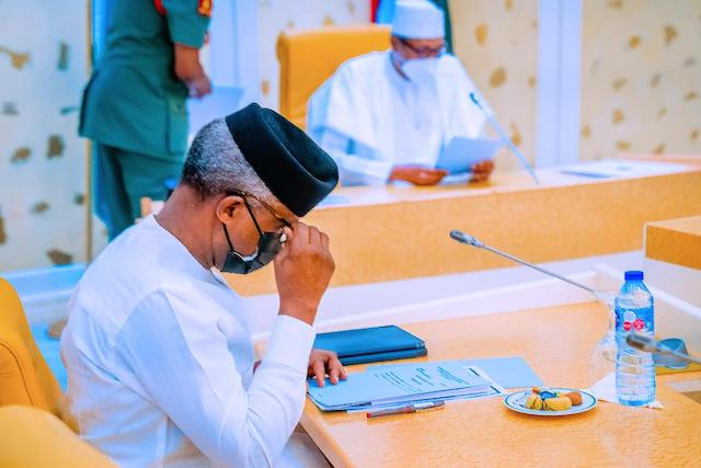 Buhari and Osinbajo on Friday. Photo Tolani Alli