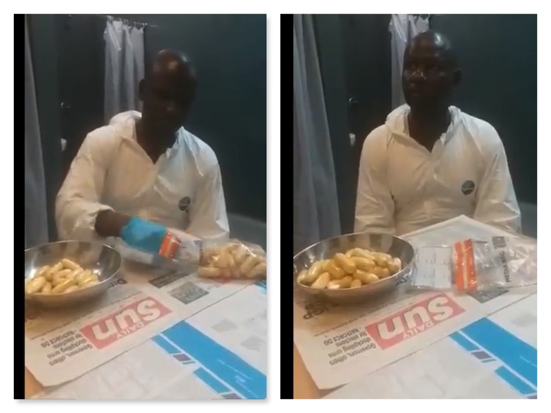 Chigbogu Ernest Obiora with the excreted cocaine pellets