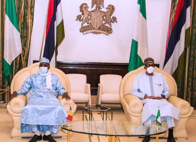 Deby and President Buhari in pensive mood