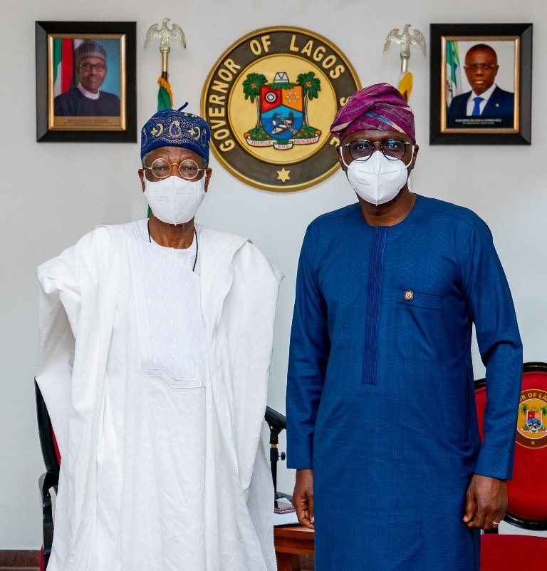Lai Mohammed and Governor Sanwo-Olu confer on planned TV digital switch-over